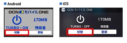 OCN モバイル ONEのターボ機能(ウィジェット)