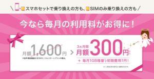 シェアNo.1記念 スマホ代月額300円キャンペーン