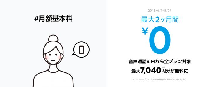 LINEモバイル「2ヶ月間ぜーんぶゼロキャンペーン」の内容 ①