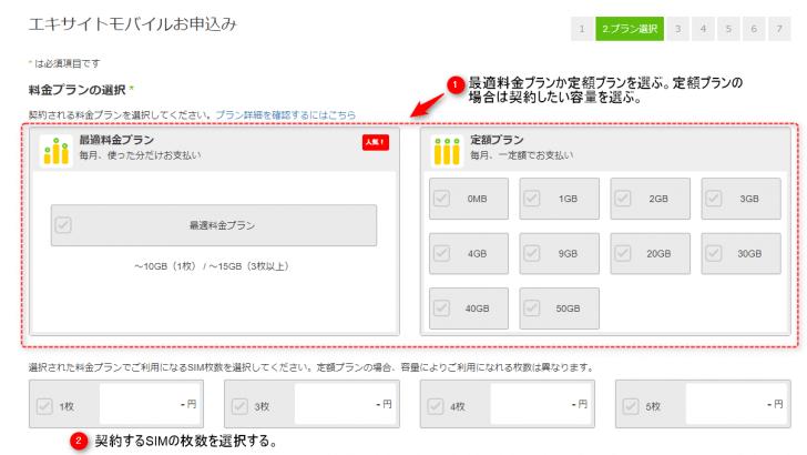 エキサイトモバイル 申し込み方法の流れ2