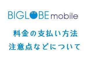 BIGLOBEモバイルの料金の支払い方法について