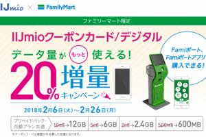 【IIJmio】「Famiポート/Famiポートアプリ」限定 !「IIJmioクーポンカード/デジタル」20%増量キャンペーン
